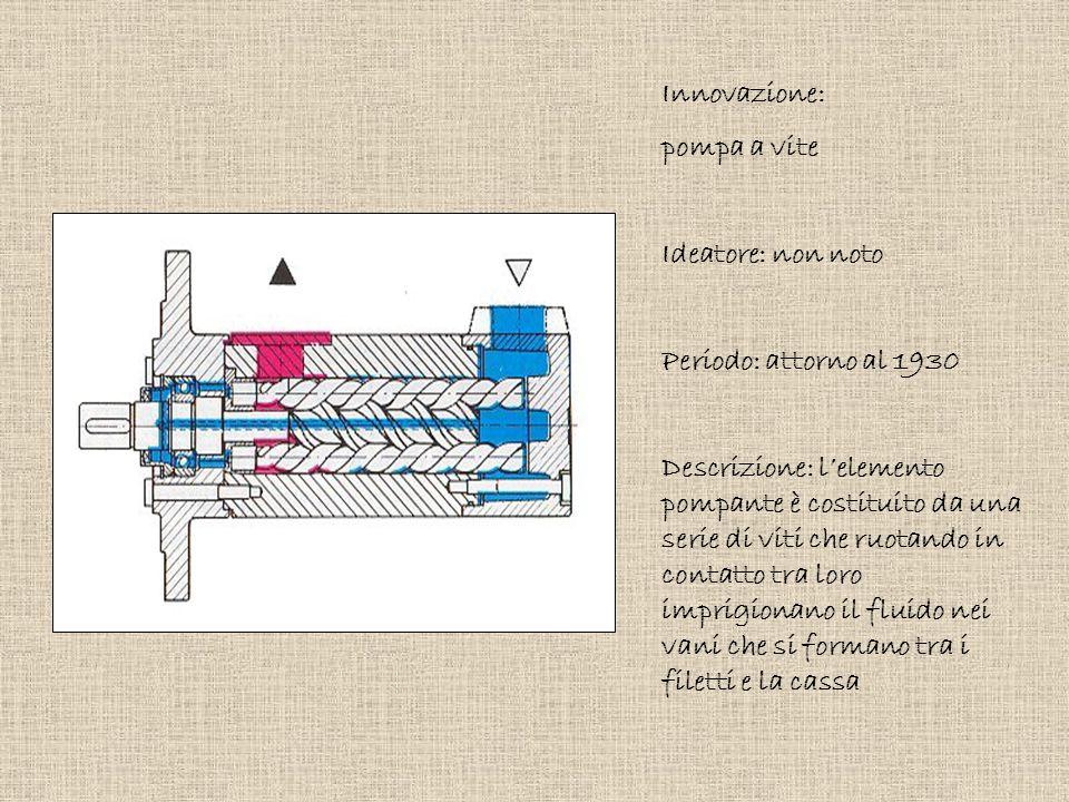 Innovazione: pompa a vite Ideatore: non noto Periodo: attorno al 1930 Descrizione: l'elemento pompante è costituito da una serie di viti che ruotando