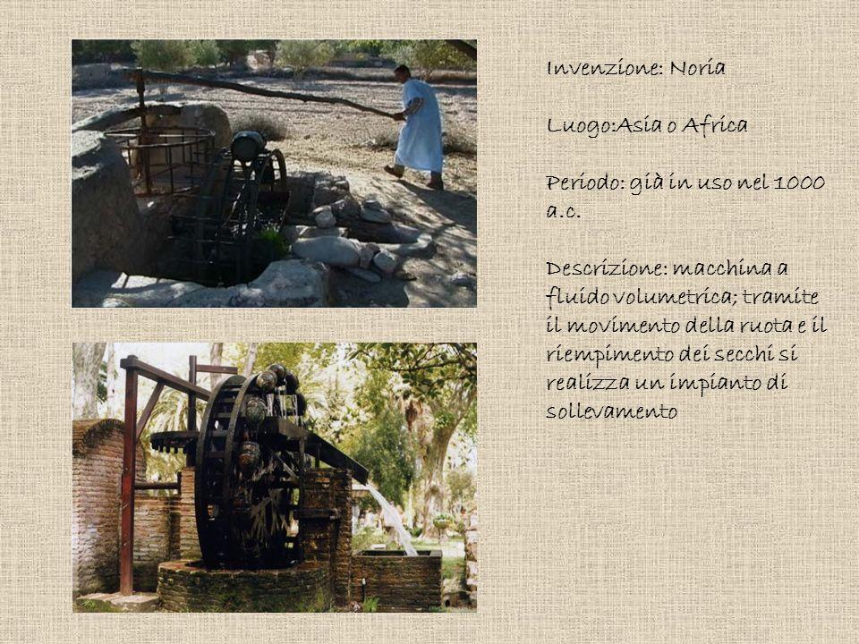 Invenzione: Noria Luogo:Asia o Africa Periodo: già in uso nel 1000 a.c. Descrizione: macchina a fluido volumetrica; tramite il movimento della ruota e
