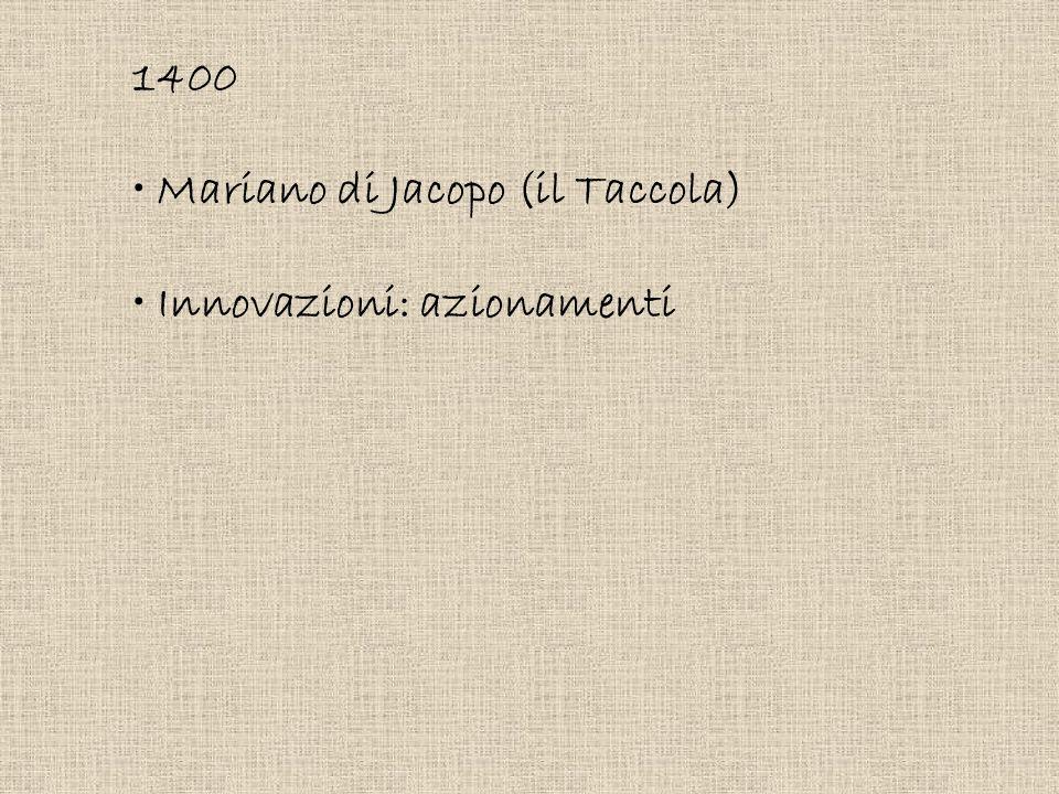 1400 Mariano di Jacopo (il Taccola) Innovazioni: azionamenti