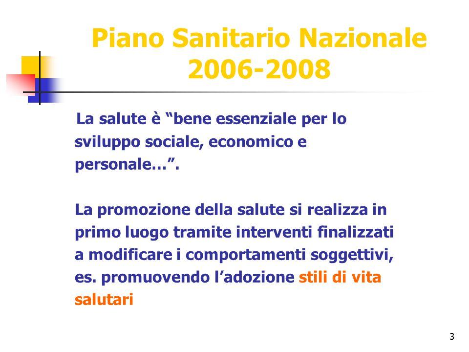 """3 Piano Sanitario Nazionale 2006-2008 La salute è """"bene essenziale per lo sviluppo sociale, economico e personale…"""". La promozione della salute si rea"""