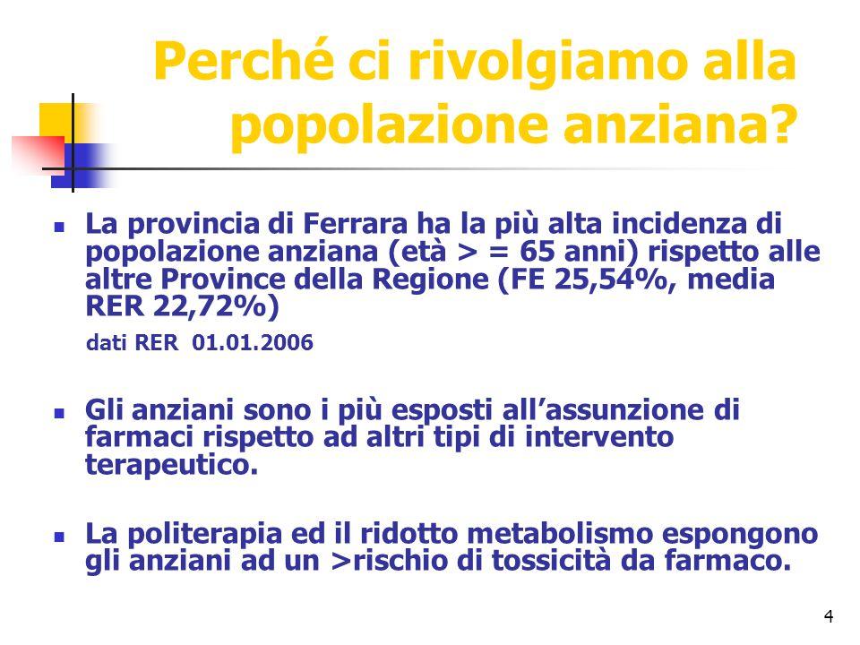 4 Perché ci rivolgiamo alla popolazione anziana? La provincia di Ferrara ha la più alta incidenza di popolazione anziana (età > = 65 anni) rispetto al