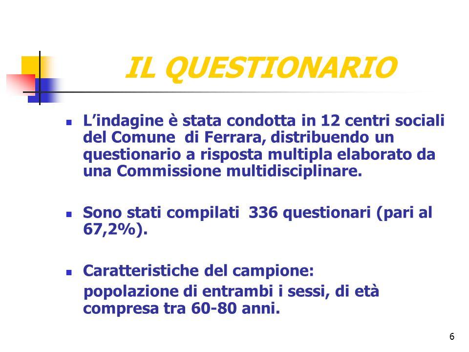6 IL QUESTIONARIO L'indagine è stata condotta in 12 centri sociali del Comune di Ferrara, distribuendo un questionario a risposta multipla elaborato d