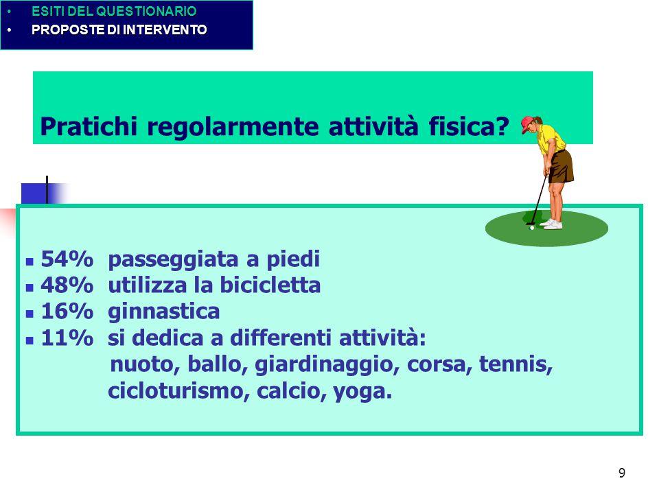9 Pratichi regolarmente attività fisica.