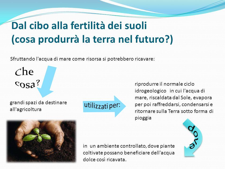 Dal cibo alla fertilità dei suoli (cosa produrrà la terra nel futuro?) Sfruttando l'acqua di mare come risorsa si potrebbero ricavare: grandi spazi da