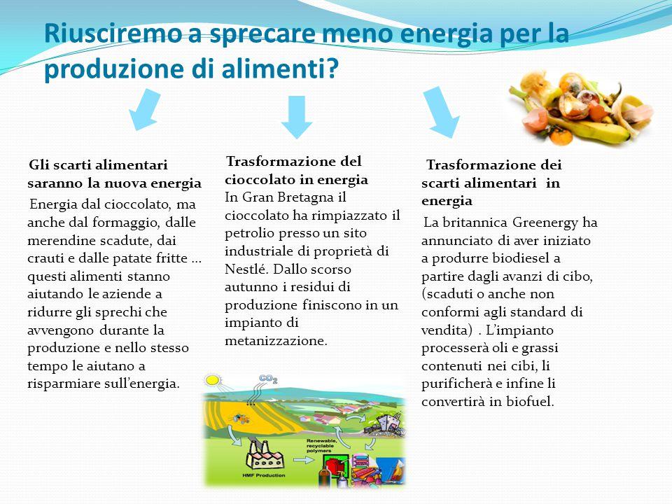 Gli scarti alimentari saranno la nuova energia Energia dal cioccolato, ma anche dal formaggio, dalle merendine scadute, dai crauti e dalle patate frit