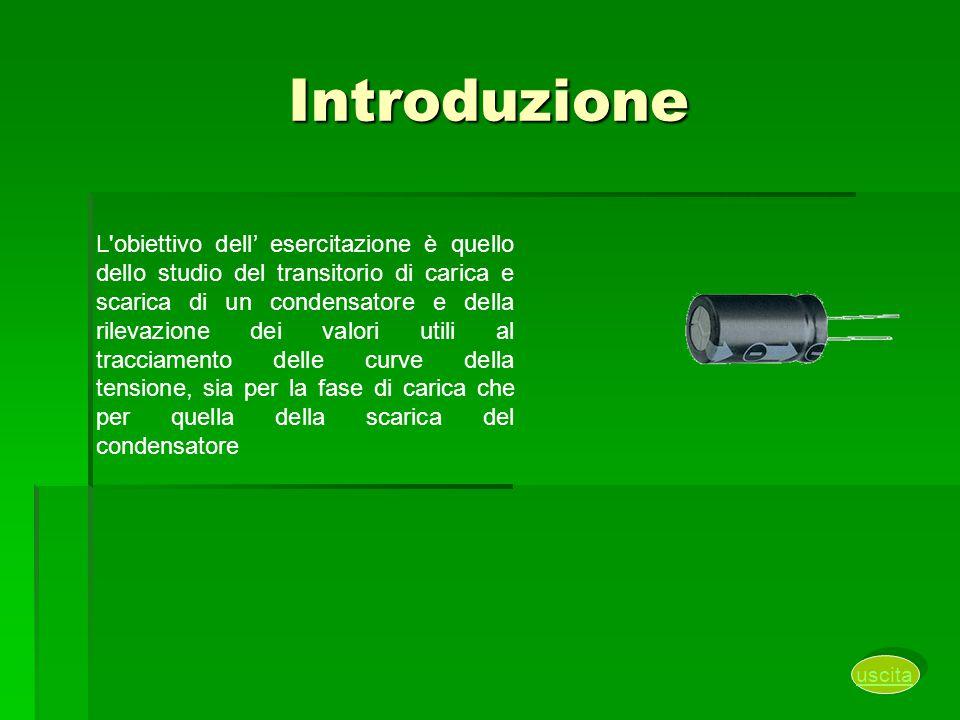 Introduzione L'obiettivo dell' esercitazione è quello dello studio del transitorio di carica e scarica di un condensatore e della rilevazione dei valo