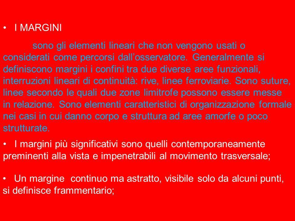 I MARGINI sono gli elementi lineari che non vengono usati o considerati come percorsi dall'osservatore.