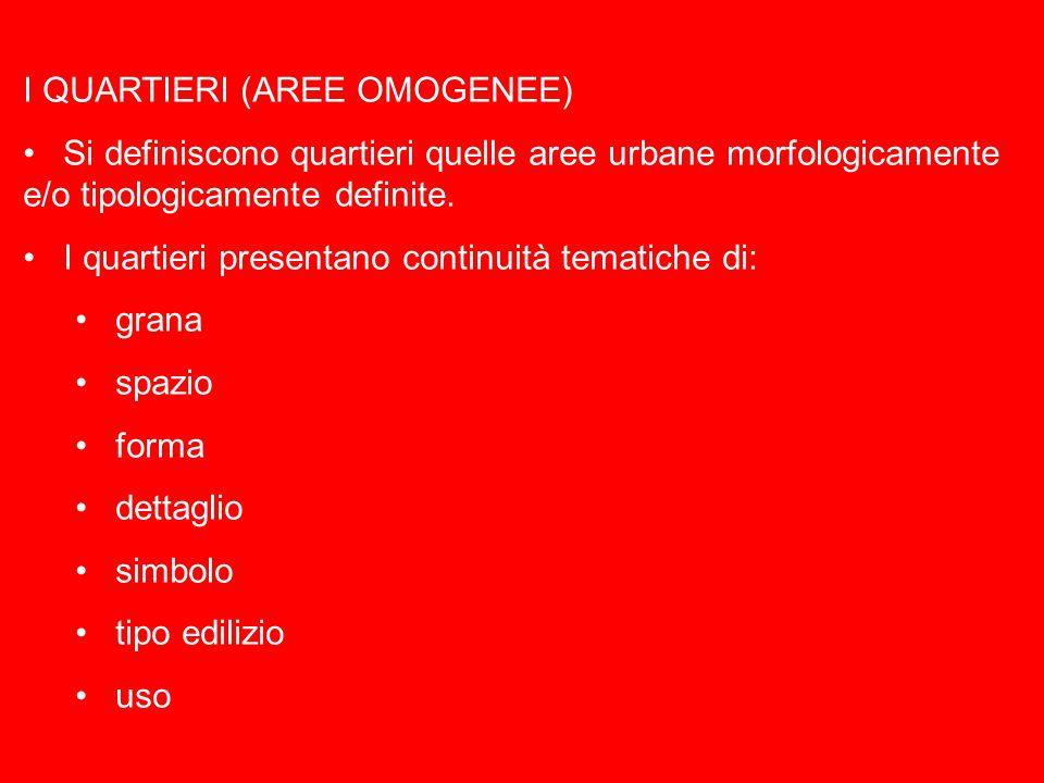 I QUARTIERI (AREE OMOGENEE) Si definiscono quartieri quelle aree urbane morfologicamente e/o tipologicamente definite.