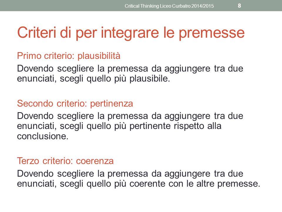Criteri di per integrare le premesse Primo criterio: plausibilità Dovendo scegliere la premessa da aggiungere tra due enunciati, scegli quello più plausibile.
