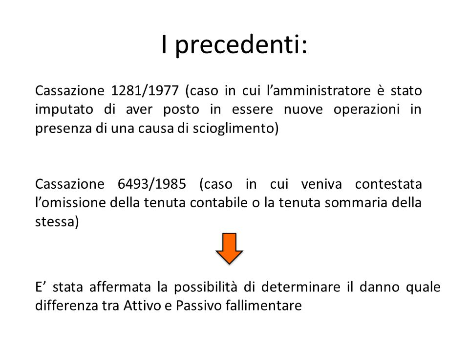 I precedenti: Cassazione 6493/1985 (caso in cui veniva contestata l'omissione della tenuta contabile o la tenuta sommaria della stessa) E' stata affer