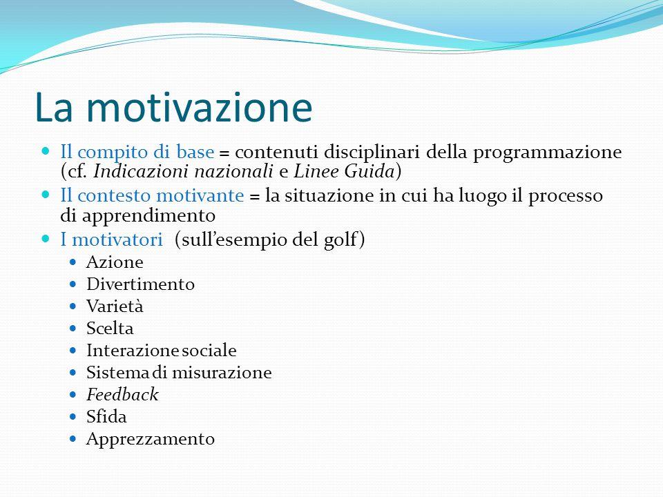 La motivazione Il compito di base = contenuti disciplinari della programmazione (cf.