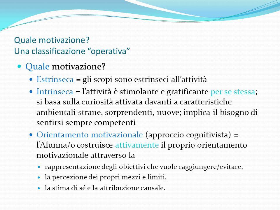 Quale motivazione. Una classificazione operativa Quale motivazione.