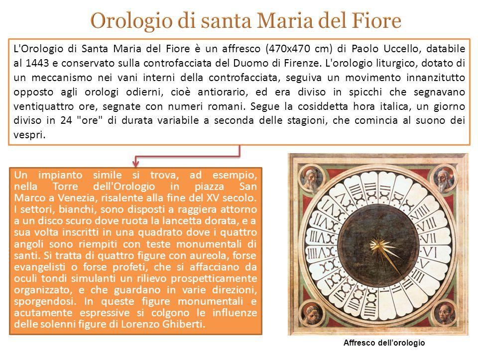 Un impianto simile si trova, ad esempio, nella Torre dell Orologio in piazza San Marco a Venezia, risalente alla fine del XV secolo.