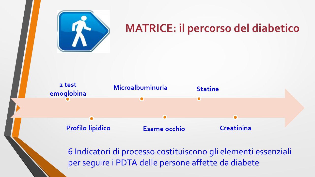MATRICE: il percorso del diabetico Statine Microalbuminuria 2 test emoglobina Profilo lipidico Esame occhio Creatinina 6 Indicatori di processo costituiscono gli elementi essenziali per seguire i PDTA delle persone affette da diabete