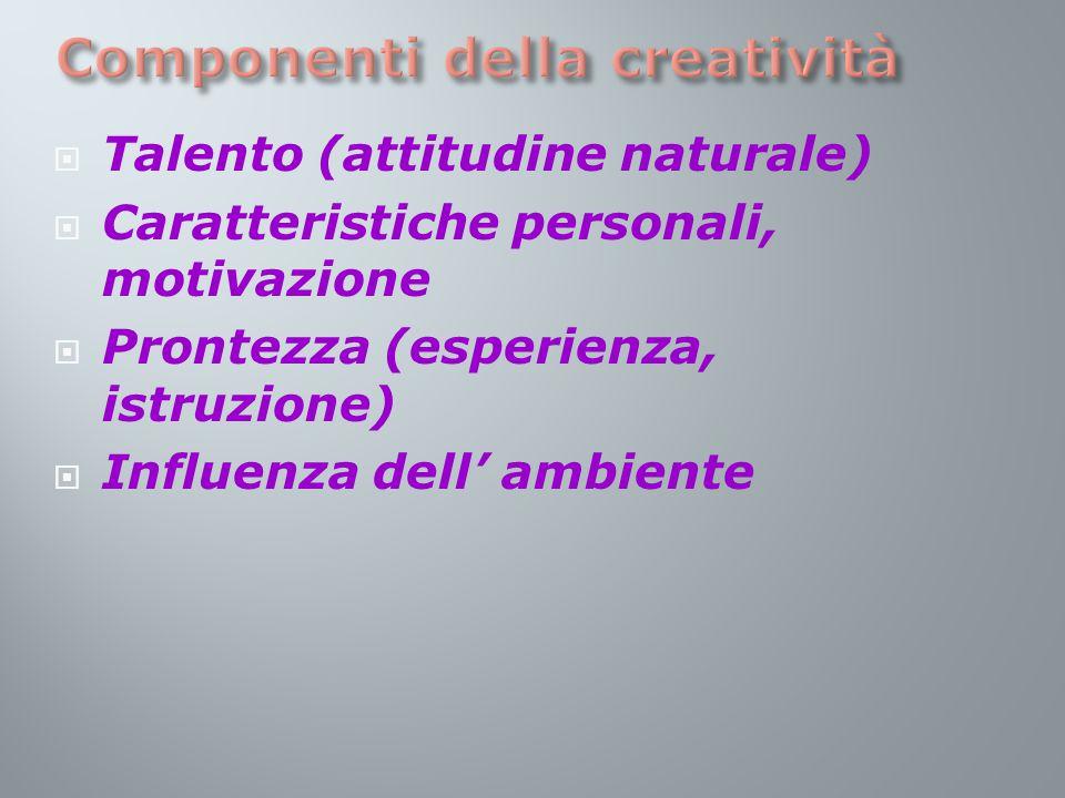  Talento (attitudine naturale)  Caratteristiche personali, motivazione  Prontezza (esperienza, istruzione)  Influenza dell' ambiente