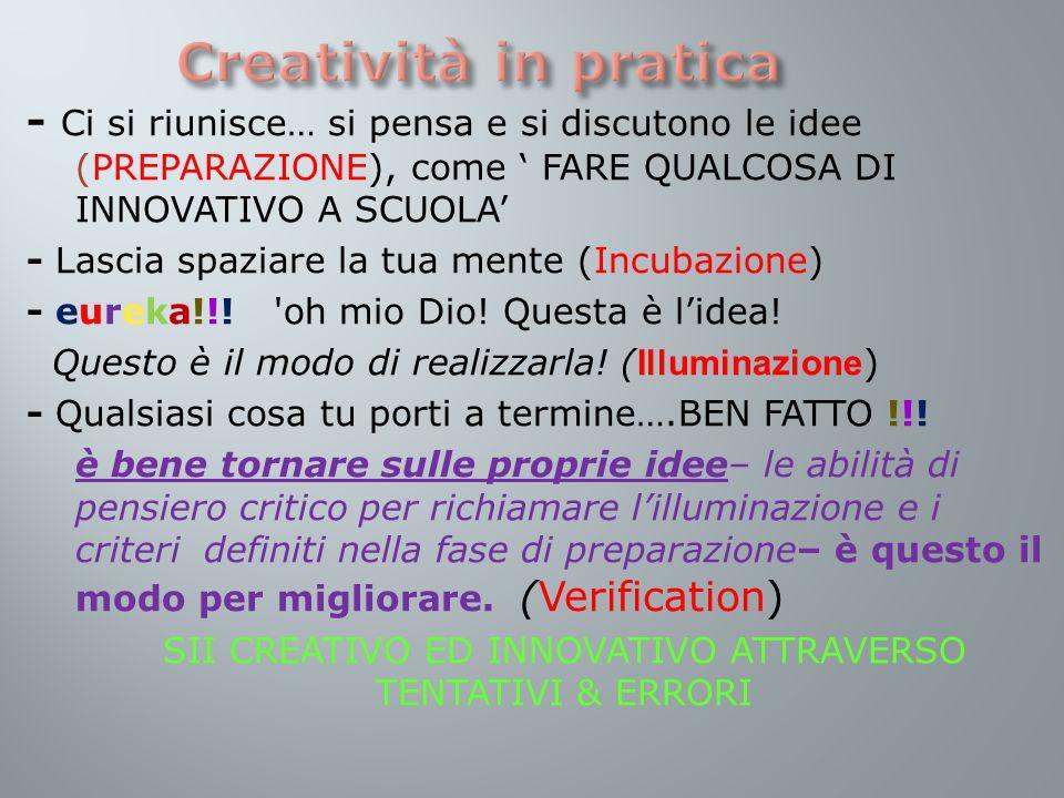 - Ci si riunisce… si pensa e si discutono le idee (PREPARAZIONE), come ' FARE QUALCOSA DI INNOVATIVO A SCUOLA' - Lascia spaziare la tua mente (Incubazione) - eureka!!.