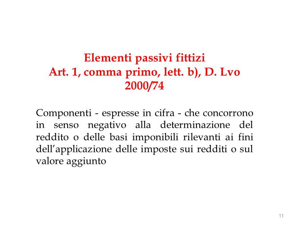 Elementi passivi fittizi Art. 1, comma primo, lett.