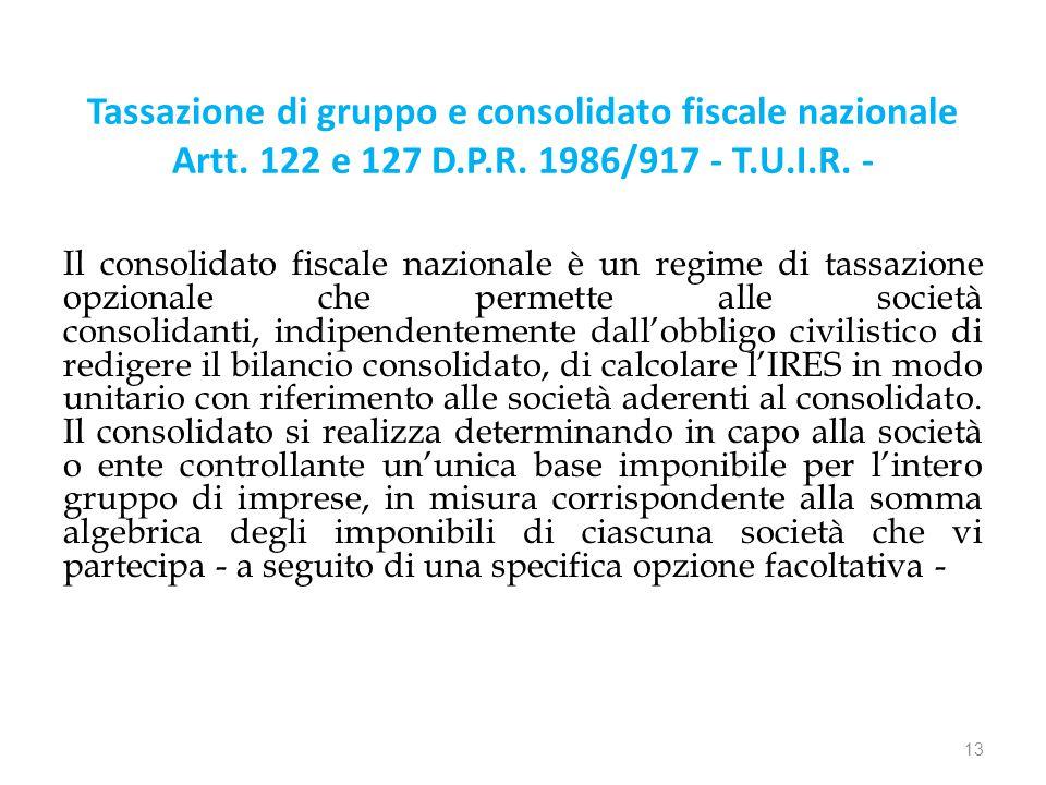 Tassazione di gruppo e consolidato fiscale nazionale Artt.