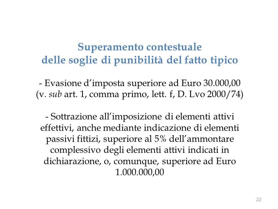 22 Superamento contestuale delle soglie di punibilità del fatto tipico - Evasione d'imposta superiore ad Euro 30.000,00 (v.
