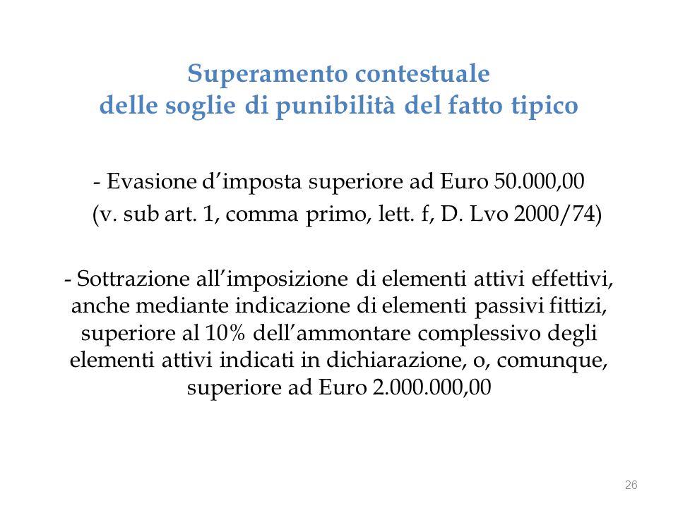 Superamento contestuale delle soglie di punibilità del fatto tipico - Evasione d'imposta superiore ad Euro 50.000,00 (v.