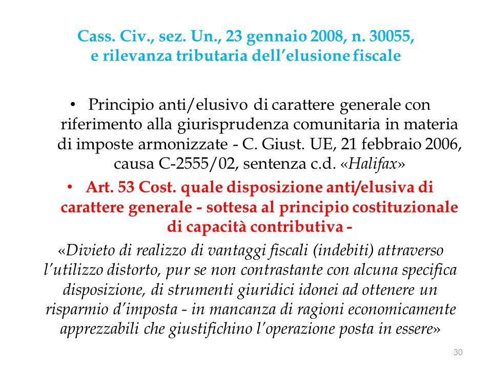Cass. Civ., sez. Un., 23 gennaio 2008, n. 30055, e rilevanza tributaria dell'elusione fiscale Principio anti/elusivo di carattere generale con riferim