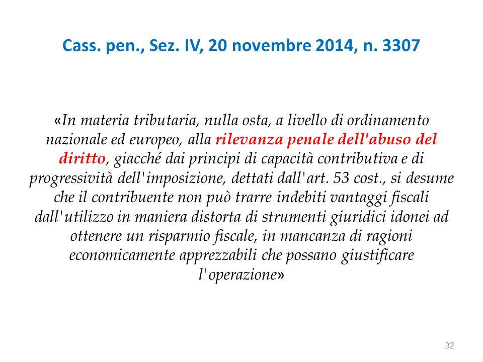 Cass. pen., Sez. IV, 20 novembre 2014, n.