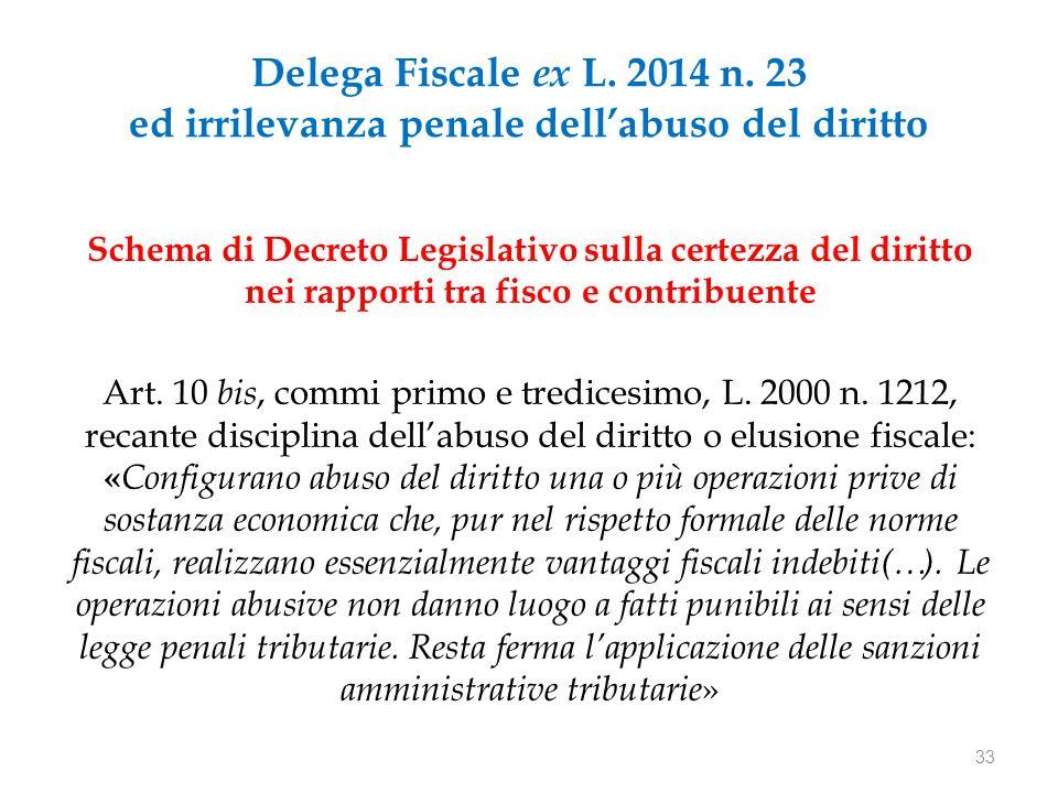 Delega Fiscale ex L. 2014 n. 23 ed irrilevanza penale dell'abuso del diritto Schema di Decreto Legislativo sulla certezza del diritto nei rapporti tra