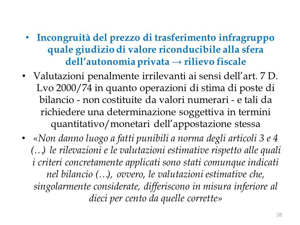 Incongruità del prezzo di trasferimento infragruppo quale giudizio di valore riconducibile alla sfera dell'autonomia privata → rilievo fiscale Valutazioni penalmente irrilevanti ai sensi dell'art.