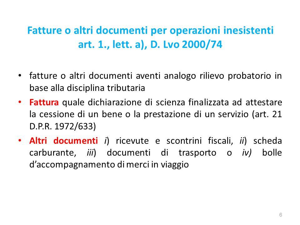 Fatture o altri documenti per operazioni inesistenti art.