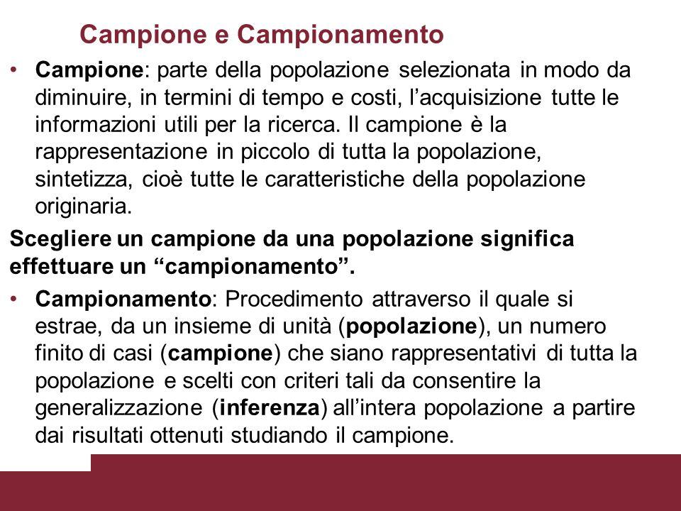 Campione e Campionamento Campione: parte della popolazione selezionata in modo da diminuire, in termini di tempo e costi, l'acquisizione tutte le info