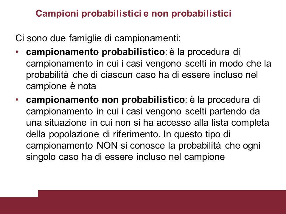 Campioni probabilistici e non probabilistici Ci sono due famiglie di campionamenti: campionamento probabilistico: è la procedura di campionamento in c