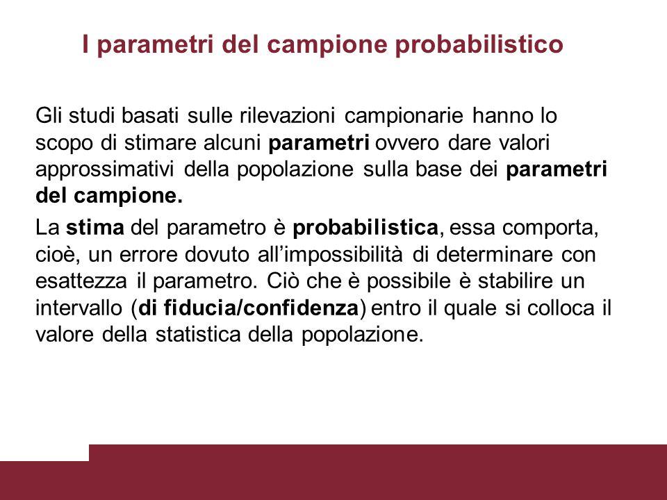 I parametri del campione probabilistico Gli studi basati sulle rilevazioni campionarie hanno lo scopo di stimare alcuni parametri ovvero dare valori a