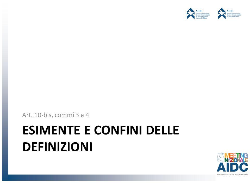 ESIMENTE E CONFINI DELLE DEFINIZIONI Art. 10-bis, commi 3 e 4