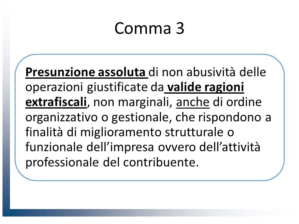 Comma 3 Presunzione assoluta di non abusività delle operazioni giustificate da valide ragioni extrafiscali, non marginali, anche di ordine organizzativo o gestionale, che rispondono a finalità di miglioramento strutturale o funzionale dell'impresa ovvero dell'attività professionale del contribuente.