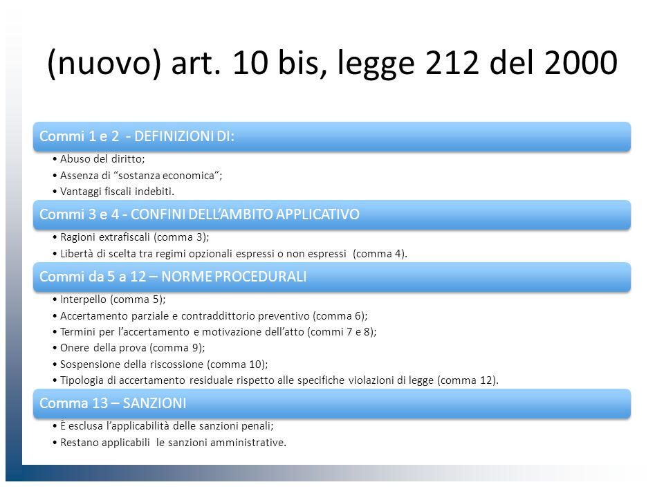 """(nuovo) art. 10 bis, legge 212 del 2000 Commi 1 e 2 - DEFINIZIONI DI: Abuso del diritto; Assenza di """"sostanza economica""""; Vantaggi fiscali indebiti. C"""