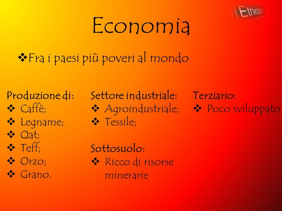 Economia  Fra i paesi più poveri al mondo Produzione di:  Caffè;  Legname;  Qat;  Teff;  Orzo;  Grano. Settore industriale:  Agroindustriale;