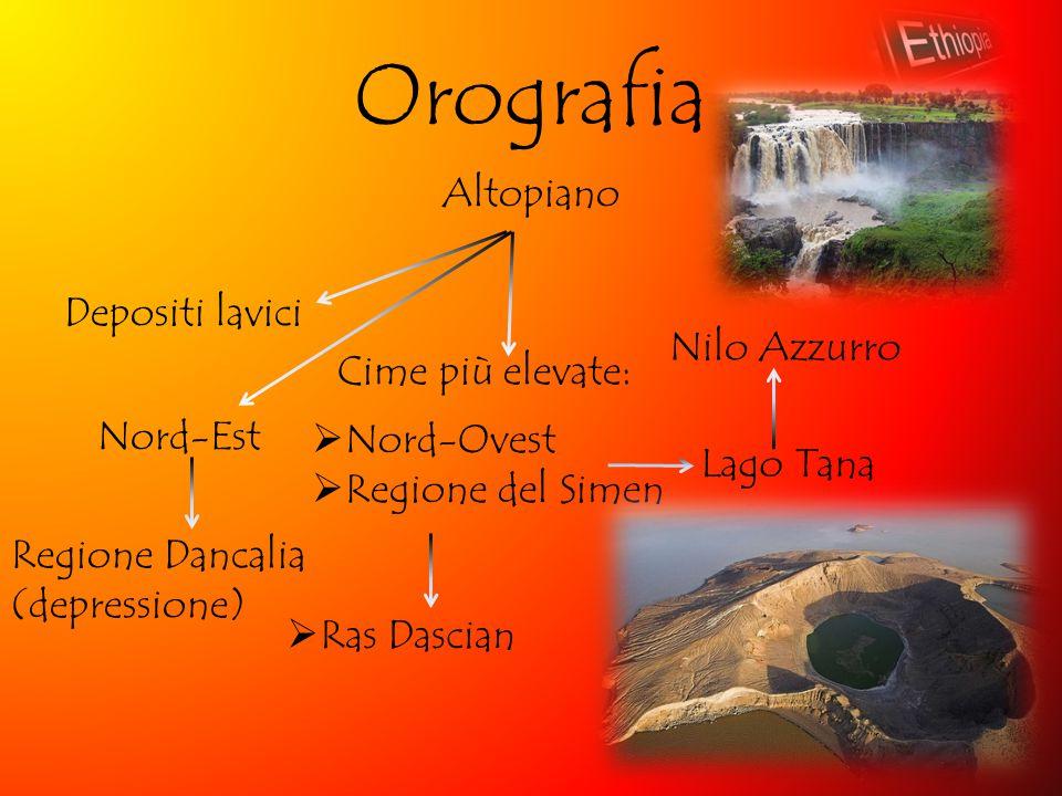 Orografia Altopiano Depositi lavici Cime più elevate: Lago Tana  Nord-Ovest  Regione del Simen  Ras Dascian Nilo Azzurro Nord-Est Regione Dancalia