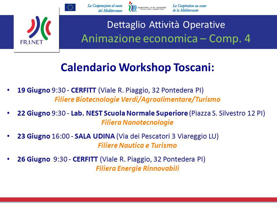 Dettaglio Attività Operative Animazione economica – Comp. 4 Calendario Workshop Toscani: 19 Giugno 9:30 - CERFITT (Viale R. Piaggio, 32 Pontedera PI)