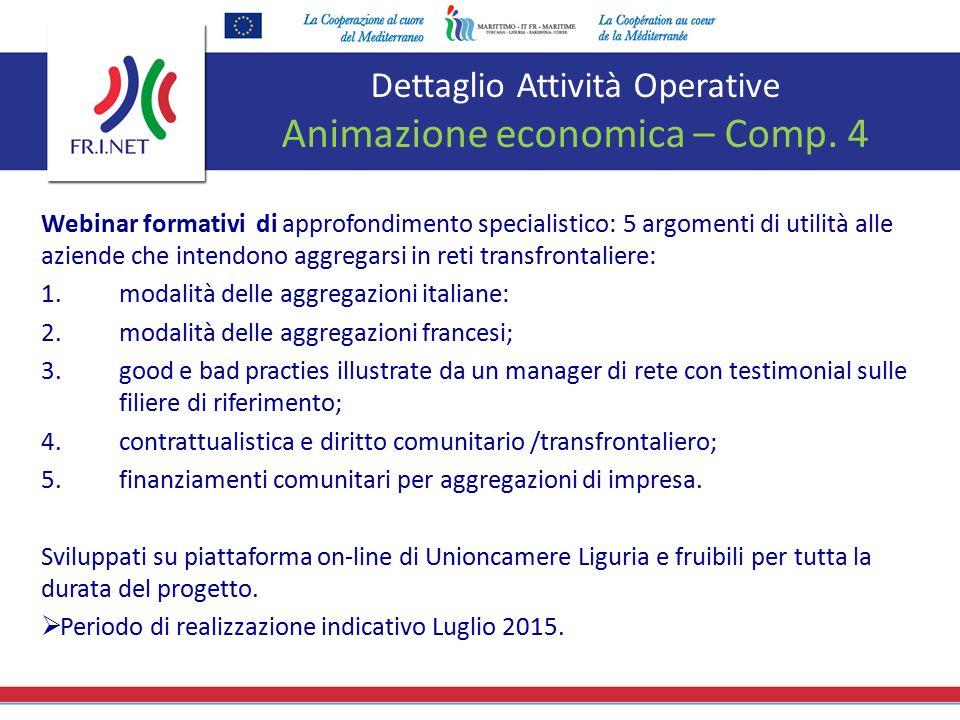 Dettaglio Attività Operative Animazione economica – Comp. 4 Webinar formativi di approfondimento specialistico: 5 argomenti di utilità alle aziende ch