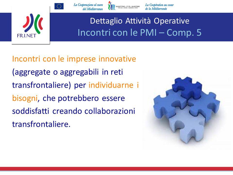 Dettaglio Attività Operative Incontri con le PMI – Comp. 5 Incontri con le imprese innovative (aggregate o aggregabili in reti transfrontaliere) per i