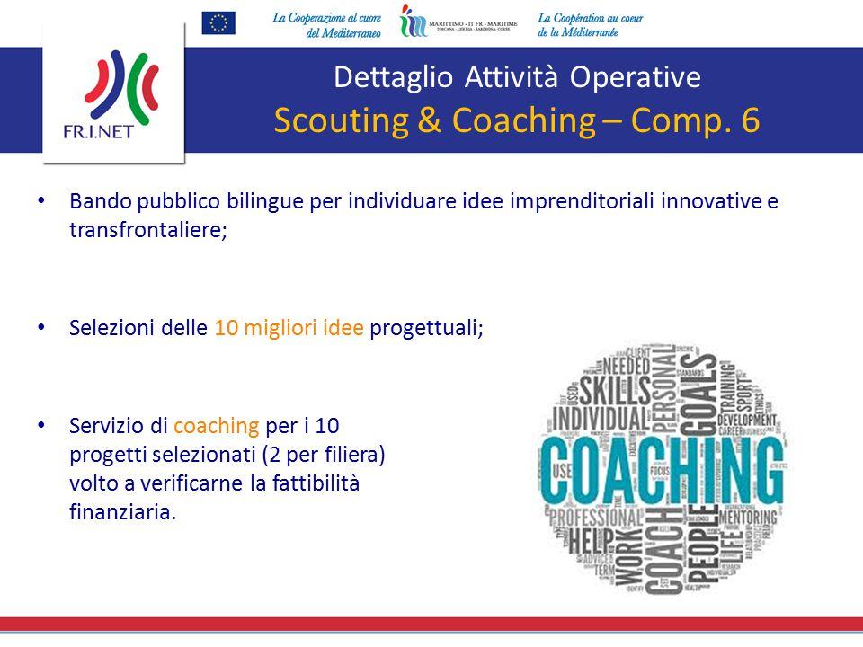 Dettaglio Attività Operative Scouting & Coaching – Comp. 6 Bando pubblico bilingue per individuare idee imprenditoriali innovative e transfrontaliere;