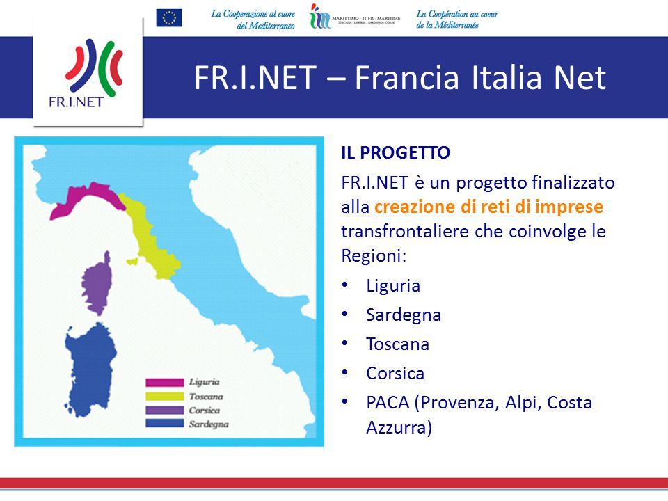 FR.I.NET – Francia Italia Net IL PROGETTO FR.I.NET è un progetto finalizzato alla creazione di reti di imprese transfrontaliere che coinvolge le Regio