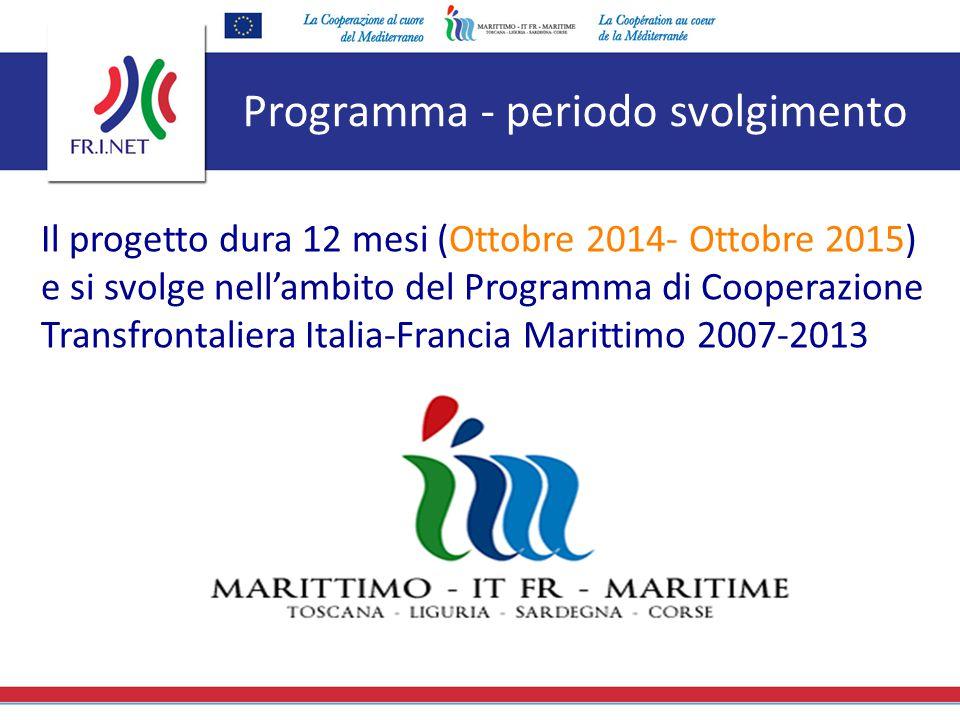Programma - periodo svolgimento Il progetto dura 12 mesi (Ottobre 2014- Ottobre 2015) e si svolge nell'ambito del Programma di Cooperazione Transfront