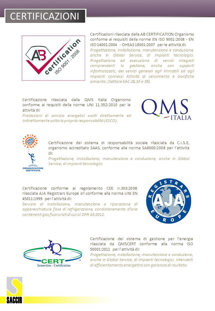Certificazione rilasciata dalla QMS Italia Organismo conforme ai requisiti della norme UNI 11.352:2010 per le attività di: Prestazioni di servizio energetici svolti direttamente ed indirettamente sotto la propria responsabilità (ESCO).