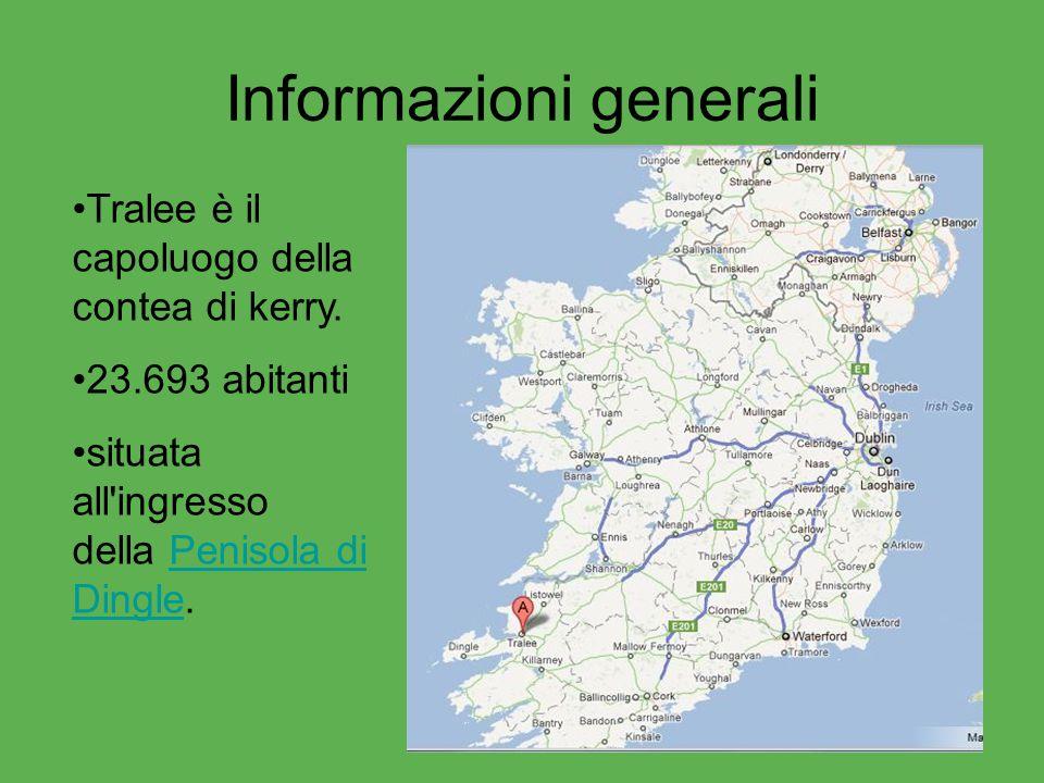 Informazioni generali Tralee è il capoluogo della contea di kerry. 23.693 abitanti situata all'ingresso della Penisola di Dingle.Penisola di Dingle