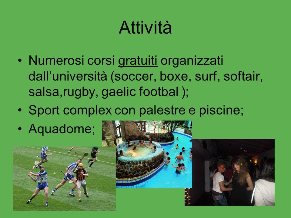 Attività Numerosi corsi gratuiti organizzati dall'università (soccer, boxe, surf, softair, salsa,rugby, gaelic footbal ); Sport complex con palestre e