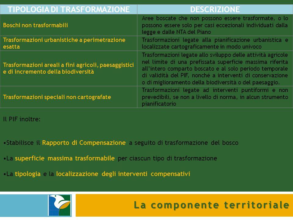 La componente territoriale TIPOLOGIA DI TRASFORMAZIONEDESCRIZIONE Boschi non trasformabili Aree boscate che non possono essere trasformate, o lo posso