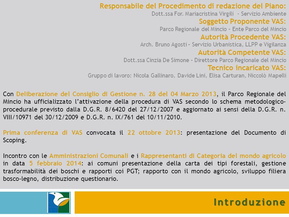 Responsabile del Procedimento di redazione del Piano: Dott.ssa For. Mariacristina Virgili - Servizio Ambiente Soggetto Proponente VAS: Parco Regionale