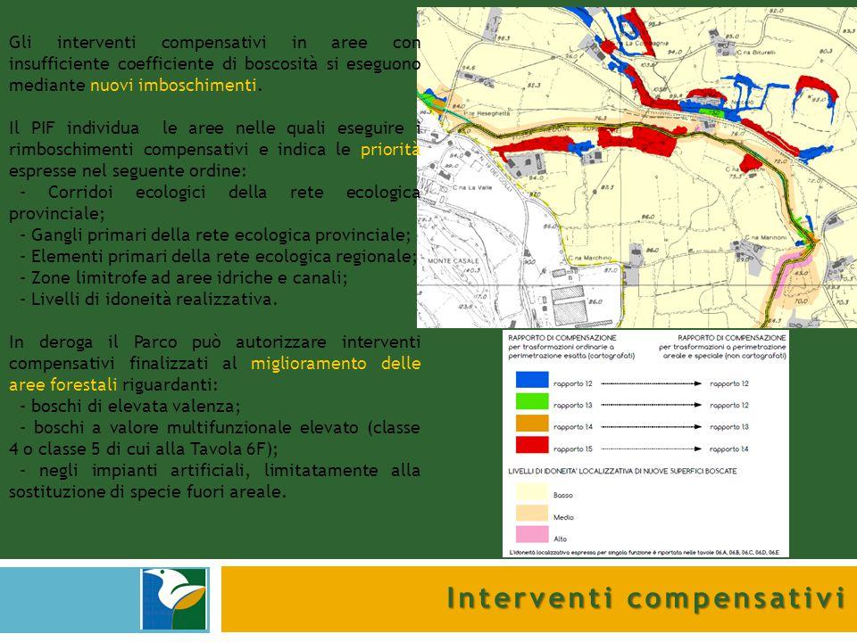 Interventi compensativi Gli interventi compensativi in aree con insufficiente coefficiente di boscosità si eseguono mediante nuovi imboschimenti. Il P