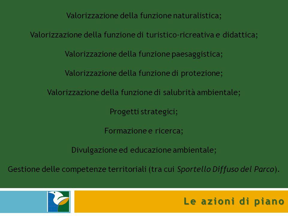 Le azioni di piano Valorizzazione della funzione naturalistica; Valorizzazione della funzione di turistico-ricreativa e didattica; Valorizzazione dell